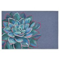 "Liora Manne Succulent Lapis 1'11"" X 2'11"" Powerloomed Accent Rug in Navy"