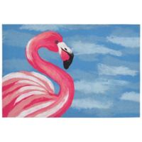 "Liora Manne Flamingo 1'11"" X 2'11"" Powerloomed Accent Rug in Blue"