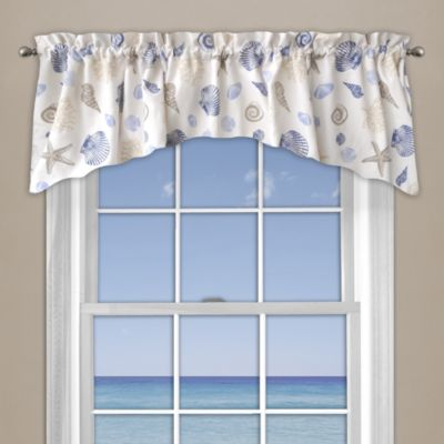 High Quality Seashore Coral Window Curtain Valance In Blue Gallery