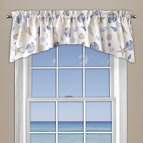 Buy seashore coral window curtain valance in blue from bed bath beyond for Window valances for bathrooms