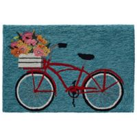 "Liorra Manne Bike Ride 20"" x 30""Indoor/Outdoor Accent Rug in Blue"