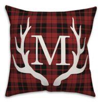Designs Direct Deer Antlers Monogram Square Indoor/Outdoor Throw Pillow in Red