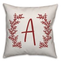Designs Direct Leaf Wreath Monogram Square Indoor/Outdoor Throw Pillow in Red
