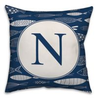 Designs Direct Fish Monogram Square Indoor/Outdoor Throw Pillow in Blue