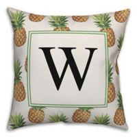Designs Direct Pineapple Monogram Square Indoor/Outdoor Throw Pillow in Green