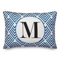 Designs Direct Geometric Monogram Oblong Indoor/Outdoor Throw Pillow in Blue