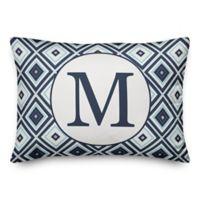 Designs Direct Diamond Monogram Oblong Indoor/Outdoor Throw Pillow in Blue