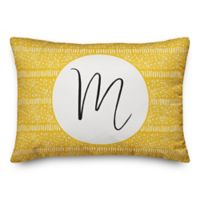 Designs Direct Dot and Dash Monogram Oblong Indoor/Outdoor Throw Pillow in Yellow