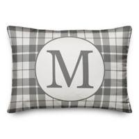 Designs Direct Plaid Monogram Oblong Indoor/Outdoor Throw Pillow in Grey