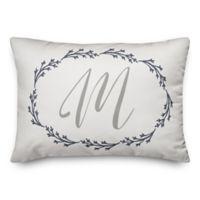 Designs Direct Wreath Monogram Oblong Indoor/Outdoor Throw Pillow in Grey