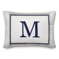 Designs Direct Simple Monogram Oblong Indoor/Outdoor Throw Pillow in Blue
