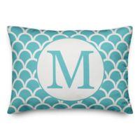 Designs Direct Scallop Monogram Oblong Indoor/Outdoor Throw Pillow in Teal