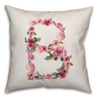 "Designs Direct Floral Monogram ""B"" Square Indoor/Outdoor Throw Pillow"