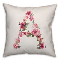 """Designs Direct Floral Monogram """"A"""" Square Indoor/Outdoor Throw Pillow"""