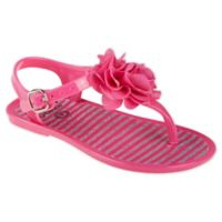 Stepping Stones Size 6-9M Flower and Butterfly Glitter Jelly Sandal in Fuchsia