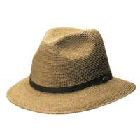 Scala Small/Medium Crocheted Raffia Safari Hat in Tea