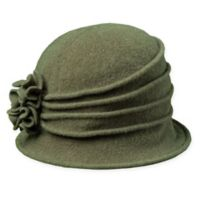 Scala™ Women's Wool Cloche Hat with Rosettes in Olive