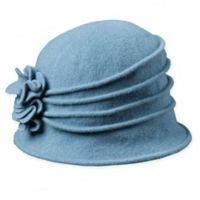 Scala™ Women's Wool Cloche Hat with Rosettes in Denim