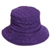 Scala Women's Quilted Big Brim Rain Hat in Purple