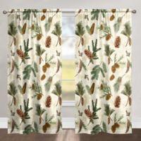 Pinecones 84-Inch Rod Pocket Room Darkening Window Curtain Panel in Green