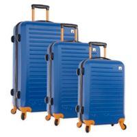 Nautica® Tide Beach 3-Piece Hardside Spinner Luggage Set in Blue/Tangerine