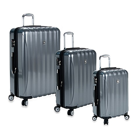 delsey helium aero spinner luggage in titanium bed bath beyond. Black Bedroom Furniture Sets. Home Design Ideas