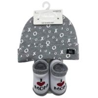 "Baby Lounge ""Love"" Beanie and Sock Set in Grey"