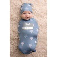 Itzy Ritzy® 2-Piece Stars Swaddle Cocoon and Hat Set in Blue