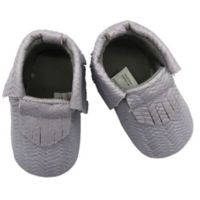 4022e0457 Baby Lounge Size 3-9M Moccasin Crib Shoe in Grey