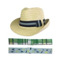 Toby Fairy™ Newborn 4-Piece Woven Fedora and Hat Band Set in Natural