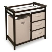 Badger Basket Modern Baby Changing Table with Hamper and 3 Baskets