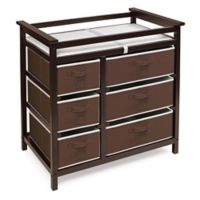 Badger Basket Modern Baby Changing Table with 6 Baskets in Espresso