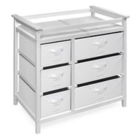 Badger Basket Modern Baby Changing Table with 6 Baskets in White