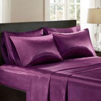 Madison Park Essentials Satin Solid California King Sheet Set in Purple