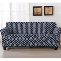 Great Bay Home Brenna Strapless Sofa Slipcover in Navy