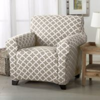 Great Bay Home Brenna Strapless Chair Slipcover in Beige