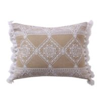 Levtex Home Icaria Crewel Geometric Fringe Oblong Throw Pillow in White