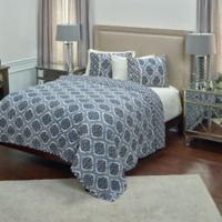 Rizzy Home Gemma Reversible King Quilt in Navy