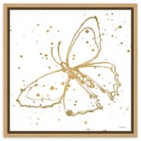 Amanti Art Golden Wings II 16-Inch Square Framed Canvas Wall Art