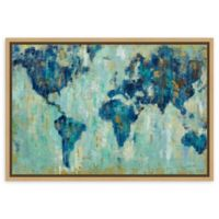 Amanti Art Map of the World 23-Inch x 16-Inch Framed Canvas Wall Art
