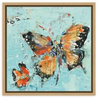 Amanti Art Monarch II Light Blue 16-Inch Square Framed Canvas Wall Art