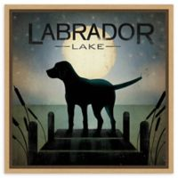 Amanti Art Moonrise Black Dog-Labrador Lake 16-Inch Square Framed Canvas Wall Art