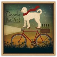 Amanti Art White Doodle on Bike Summer 16-Inch Square Framed Canvas Wall Art