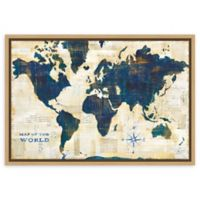 Amanti Art World Map Collage 23-Inch x 16-Inch Framed Canvas Wall Art