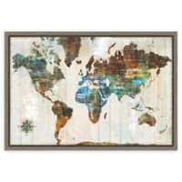 Amanti Art® Sue Schlabach Maps 23.25-Inch x 16-Inch Framed Canvas in Grey