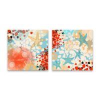 Irena Orlov Sea Life 18-Inch Square Wrapped Canvas Set of 2