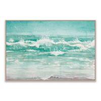Diannart Beach Waves 36.88-Inch x 24.88-Inch Framed Canvas