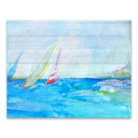 Diannart Sailboats 28-Inch x 22-Inch Wrapped Canvas