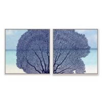 Laurent Newman Coral 20.88-Inch Square Framed Canvas Set of 2