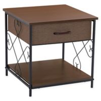 Household Essentials® End Table with Drawer in Walnut with Black Metal